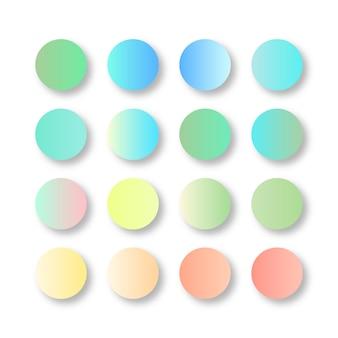Paleta de cores gradientes em tons pastéis suaves