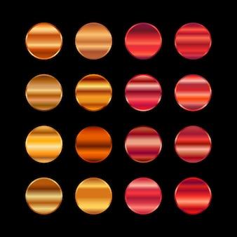 Paleta de cores metal ouro. textura de aço vermelho alaranjado
