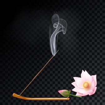 Paleta de fumaça de aroma fica no suporte, aromaterapia de lótus