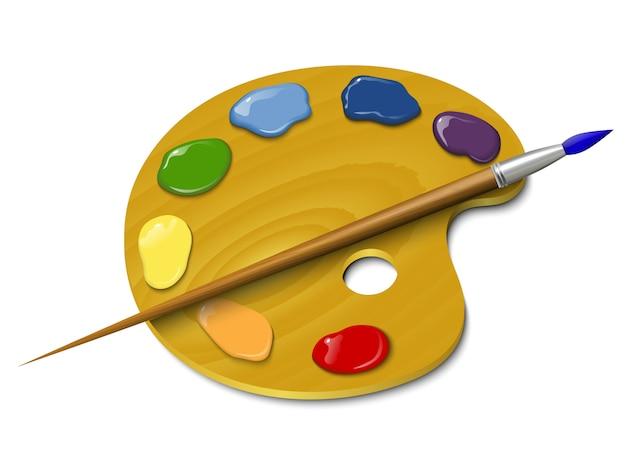 Paleta de madeira com uma escova