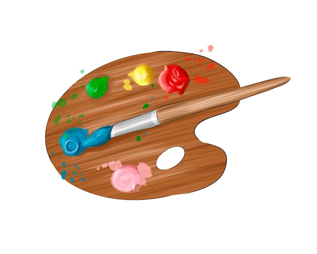 Paleta de madeira para tintas de tintas multicoloridas respingo de aquarela colorido desenho realista