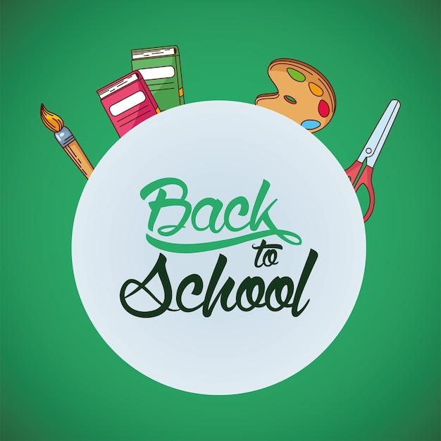 Paleta de pincel de pintura tesoura e design de cadernos, aula de educação de volta à escola e tema da lição