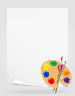 Paleta de tintas e ilustração vetorial de pincel
