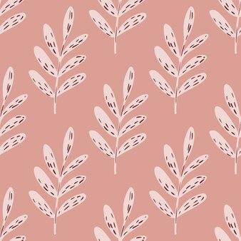 Paleta rosa sem costura padrão floral com folhas de ramos.