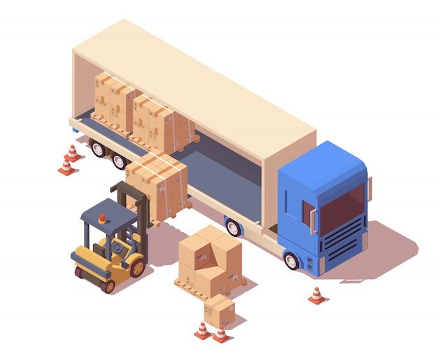 Paletes de carga para semi-reboque e empilhadeira com caixas de papelão.