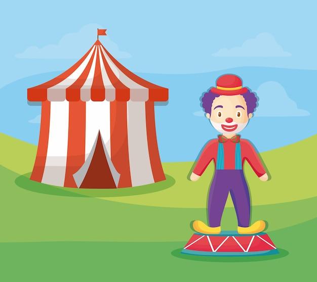 Palha de circo e palhaço dos desenhos animados