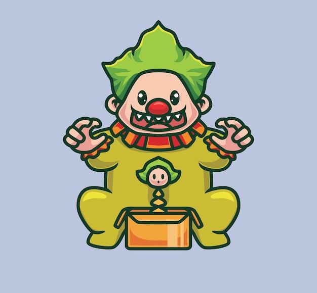 Palhaço bonito jogando um brinquedo. ilustração de halloween animal isolada dos desenhos animados. estilo simples adequado para vetor de logotipo premium de design de ícone de etiqueta. personagem mascote