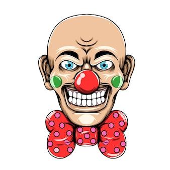 Palhaço com a cabeça magra e grande sorriso usando a grande gravata vermelha