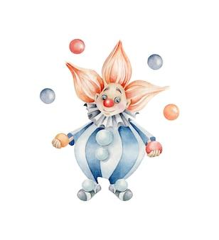 Palhaço com bolas. personagem de desenho animado. malabarista