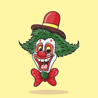 Palhaço com nariz vermelho e cabelo verde, chapéu vermelho e gravata
