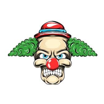 Palhaço com o cabelo verde e chapeuzinho vermelho possui com a cara assustadora