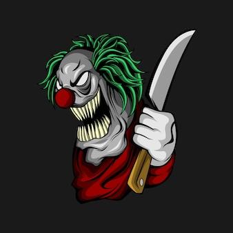 Palhaço com uma faca