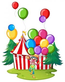 Palhaço de circo com balões coloridos