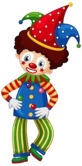 Palhaço de circo, malabarismo com bolas em branco