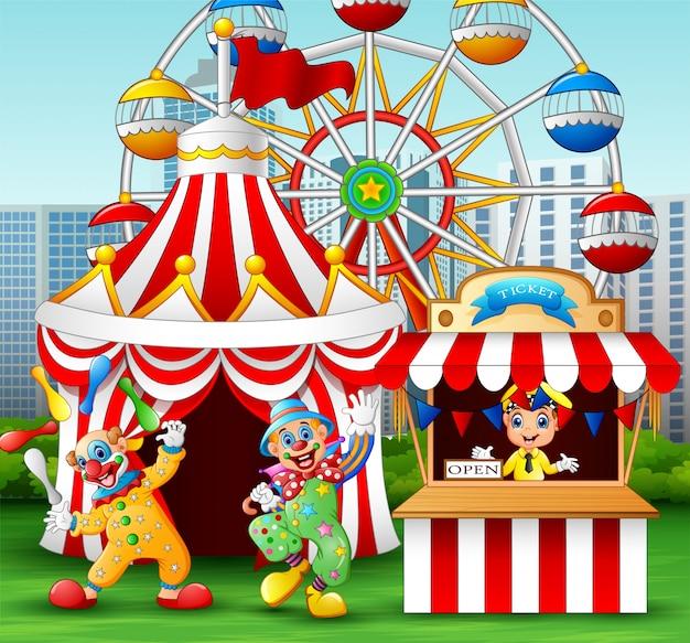 Palhaço dos desenhos animados mostram desempenho acrobático na diversão