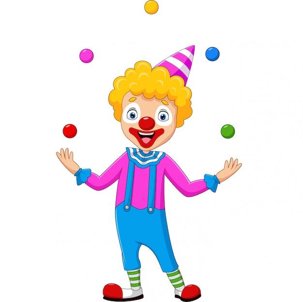 Palhaço feliz, malabarismo com bolas coloridas