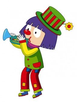 Palhaço feliz tocando trompete
