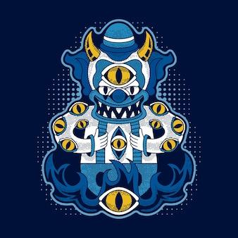 Palhaço malvado isolado em azul