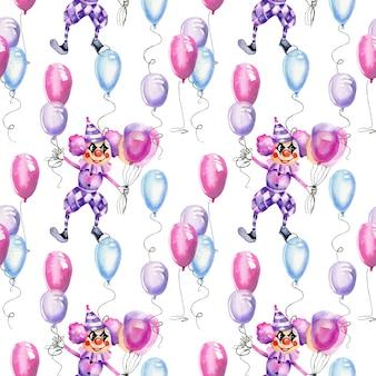 Palhaços de circo em aquarela com padrão sem emenda de balões de ar