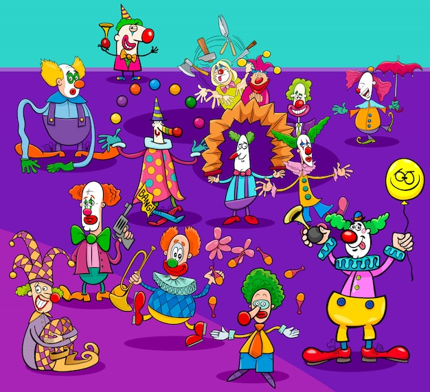 Palhaços de circo engraçado grupo de personagens de desenhos animados