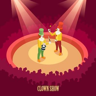 Palhaços de circo mostram cartaz isométrico