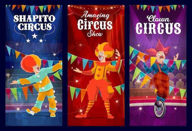 Palhaços de circo shapito, bufões e arlequim