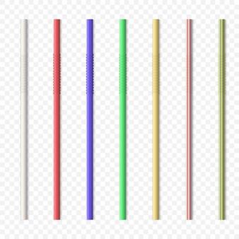 Palhas bebendo coloridas.