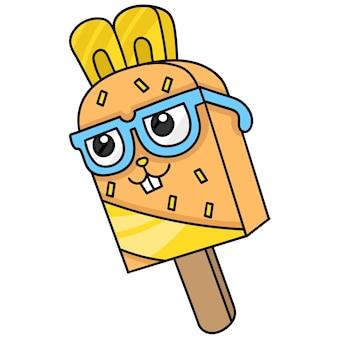 Palito de sorvete com cara de nerd com óculos, desenho de desenho de personagem fofo. ilustração vetorial