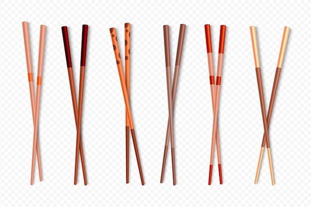 Palitos chineses de madeira para pratos asiáticos Vetor Premium