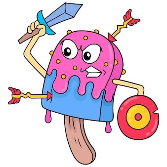 Palitos de sorvete com rostos ferozes carregando espadas e escudos prontos para a guerra, arte de ilustração vetorial. imagem de ícone do doodle kawaii.