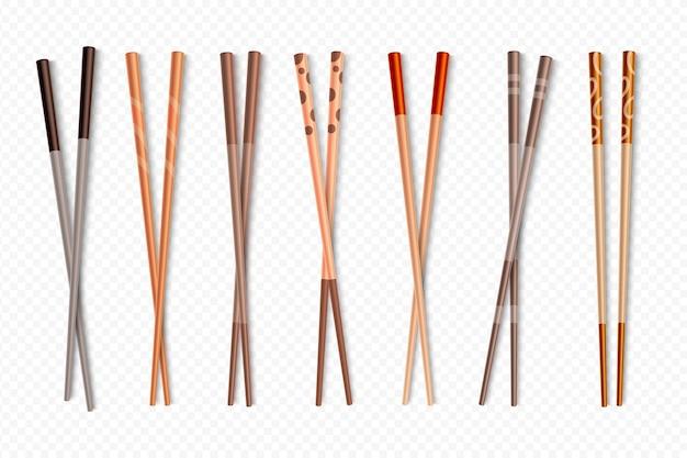 Palitos de sushi de bambu asiático para comida chinesa e japonesa