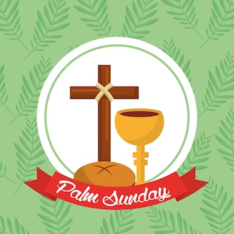 Palm domingo colher cruzada fundo verde fita