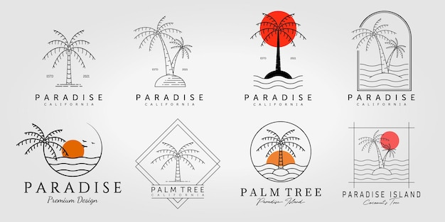 Palm tree coconut logo line art ilustração vetorial design