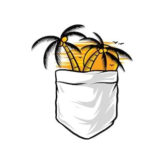 Palm tropical verão bolso engraçado