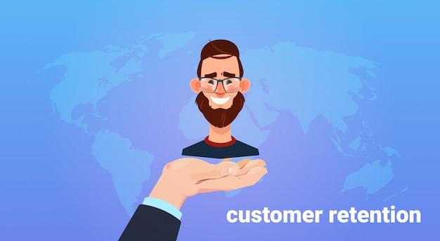 Palma da mão espera cliente homem. conceito de retenção de clientes. servico de atendimento ao consumidor. fornecendo salvar a lealdade do cliente. estilo