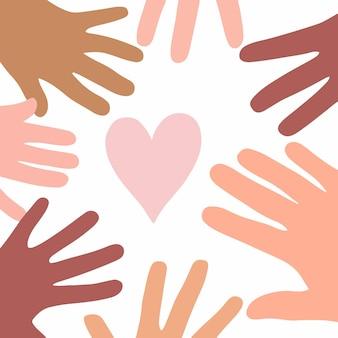 Palma de mãos em cores diferentes com o símbolo do coração rosa em ilustrações de vetor plano de fundo branco