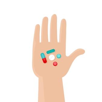 Palma humana com comprimidos. medicamentos, medicamentos, vitaminas, aspirina, analgésicos. vitaminas e suplementos dietéticos. tratar a doença. ilustração em vetor plana em um fundo branco