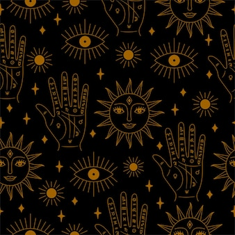 Palma sem costura dourada e preta e padrão de sol em vetor