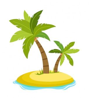 Palma tropical na ilha com a ilustração do vetor de ondas do mar isolada. praia sob palmeira. férias de verão nos trópicos. ilustração em vetor dos desenhos animados.
