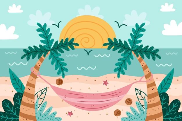 Palmas das mãos e praia verão mão desenhado fundo