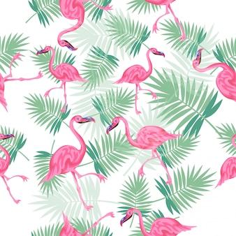 Palmas tropicais coloridas e bonitos brilhantes com padrão sem emenda de flamingos