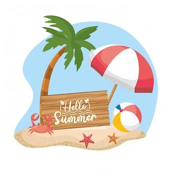 Palmeira com guarda-chuva e bola com caranguejo e estrelas do mar