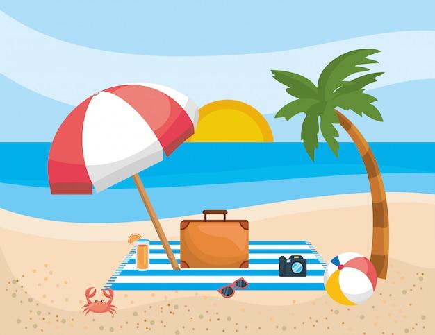 Palmeira com guarda-chuva e pasta com câmera e óculos de sol na toalha