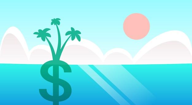 Palmeira dólar crescer no fundo da paisagem do mar oceano