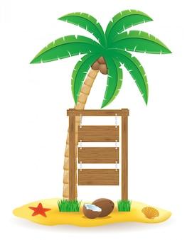 Palmeira e placa de ponteiro de madeira assinam ilustração vetorial