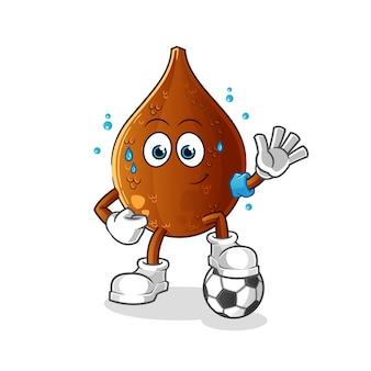 Palmeira espinhosa jogando futebol personagem de ilustração