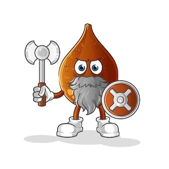 Palmeira espinhosa viking com um personagem de ilustração de machado