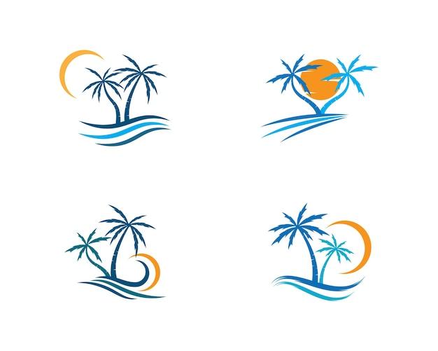 Palmeira logotipo modelo ilustração vector