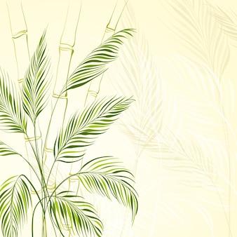 Palmeira sobre floresta de bambu