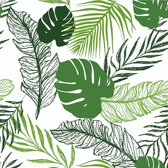 Palmeira tropical deixa padrão sem emenda